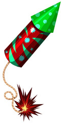 Firework rocket in red and green color