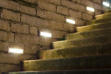 Outdoor stairs illuminated with inbuilt modern lights Fotomurales
