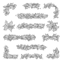 Set of holly berries page decorations and dividers.