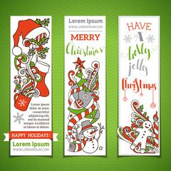 Vector set of vertical cartoon Christmas banners.