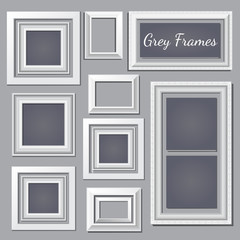 Set of white and grey frames on the wall for your design needs