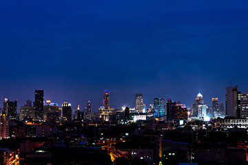 Twilight View of Bangkok City