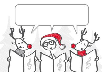 Strichmännchen-Trio singt Weihnachtslied - Sprechblase mit Freiraum zum beschriften