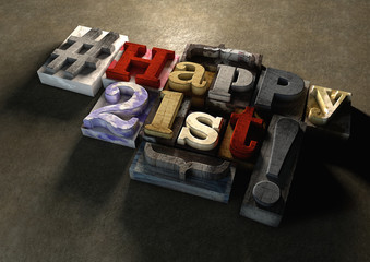 Ink splattered printing wood blocks with Happy 21st birthday typography