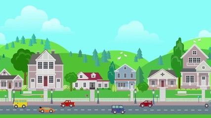 030 Flat Cartoon Panoramic City Town Suburb Day With Mountains On Background Looped Animated Road Transport