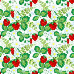 Seamless pattern with strawberries. Perfect for wallpapers, pattern fills, web page backgrounds, surface textures, textile.