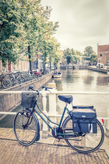 Alkmaar canal and bicycles, The Netherlands