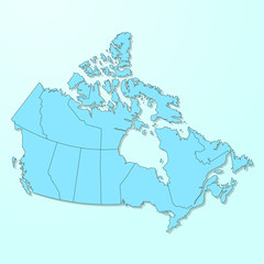 Canada blue map on degraded background vector