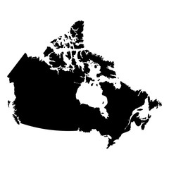 Canada black map on white background vector