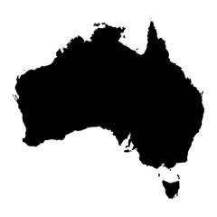 Australia black map on white background vector