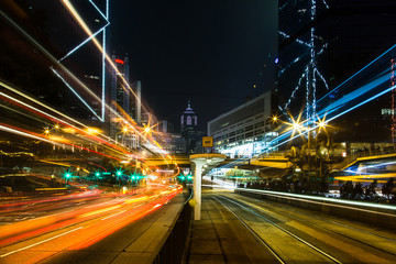 Hong Kong  tram station at night