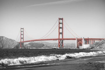 Red Golden Gate Bridge in San Francisco, black and white filter