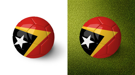 3d realistic soccer ball with the flag of East Timor on it isolated on white background and on green soccer field. See whole set for other countries.