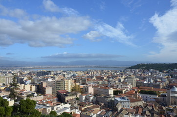View of the city of Cagliari, Sardinia, Italy