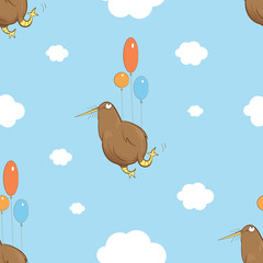 Vector seamless pattern with cartoon kiwi bird flying in the sky by balloons.