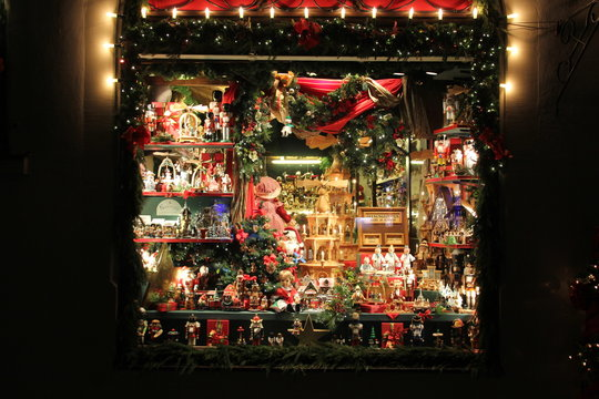 shop window decorated with christmas gift