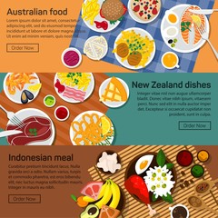 Vector flat illustration of Australia, New Zealand, Indonesia national dishes.