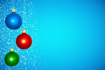Christmas tree balls at blue background