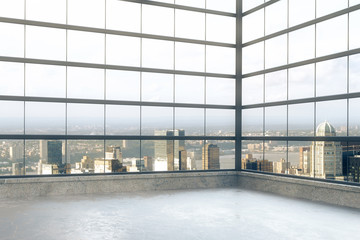 Fototapete - Empty loft room with windows in floor and city view