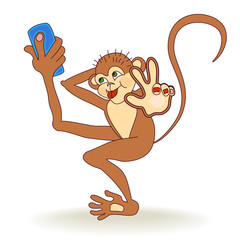 Dancing Monkey taking selfie photo on smart phone and make a hand gesture Peace. Monkey taking self-portrait and play the ape, showing tongue at camera.