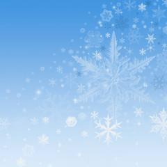 White snowflakes on blue Christmas background