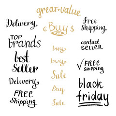 Hand writing sales tag collection. Shopping discount set. Vector