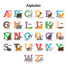 English animals zoo alphabet