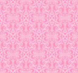 Damask seamless pattern repeating background. Pink floral ornament in baroque style.