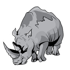 High Quality Rhinoceros Vector Cartoon Illustration