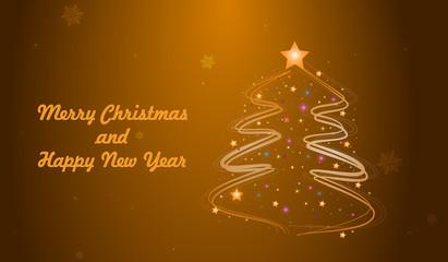 Christmas tree golden background