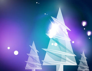Christmas blue abstract background with white transparent snowflakes