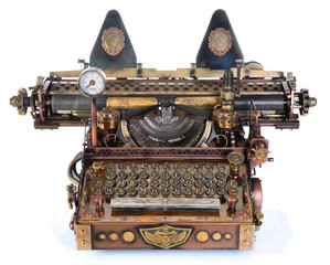 Steampunk style future Typewriter.   Russian pre-reform font. (before 1918)