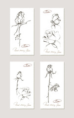 Sketch floral set. Hand drawn illustrations of roses. Vector illustration.