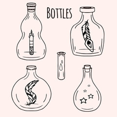Set of hand-drawn doodle bottles  for your creativity