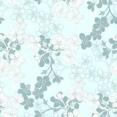 Seamless pattern with sakura branch.