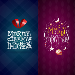 Merry christmas and Happy New Year labels set