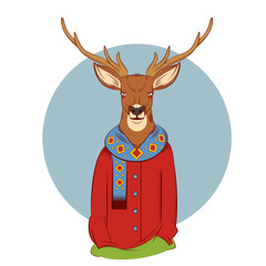 Colourful winter deer