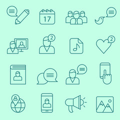 Social network icons, thin line design