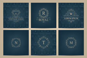 Vector set of cards with monogram logos, frames.