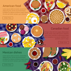 Vector flat illustration of canadian, american, mexican national dishes.