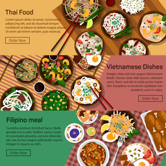 Vector flat illustration of thai, vietnam, philippines national dishes.