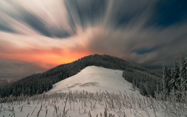Night in winter Carpathians