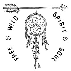 Dream catcher and arrow, tribal legend in Indian style with traditional headgeer. dreamcatcher with bird feathers and beads. Vector illustration, letters Free and Wild spirit and soul. isolated
