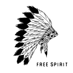 Tribal legend in Indian style, Native american traditional headgeer with bird feathers and beads. Vector illustration, letters Free spirit. isolated