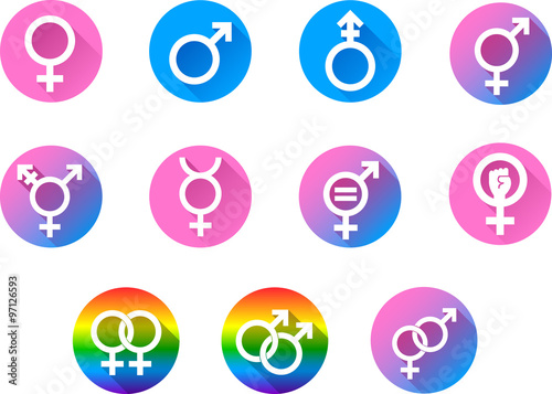Gender Symbols Set Of Vector Graphic Flat Icon Symbols Representing