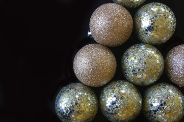 Glitter and sequin texture Christmas baubles