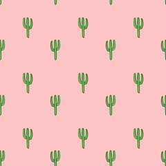 Cactuses - vector hand drawn seamless pattern, botanical illustration
