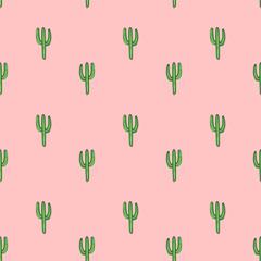 Cactuses - vector hand drawn seamless pattern, botanical illustration