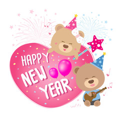Heart with happy new year and couple teddy bear sing a song