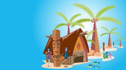 Tropical Island with Palm Trees, Vector Illustration